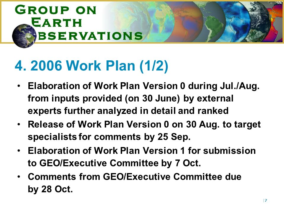 |7|7 4. 2006 Work Plan (1/2) Elaboration of Work Plan Version 0 during Jul./Aug.