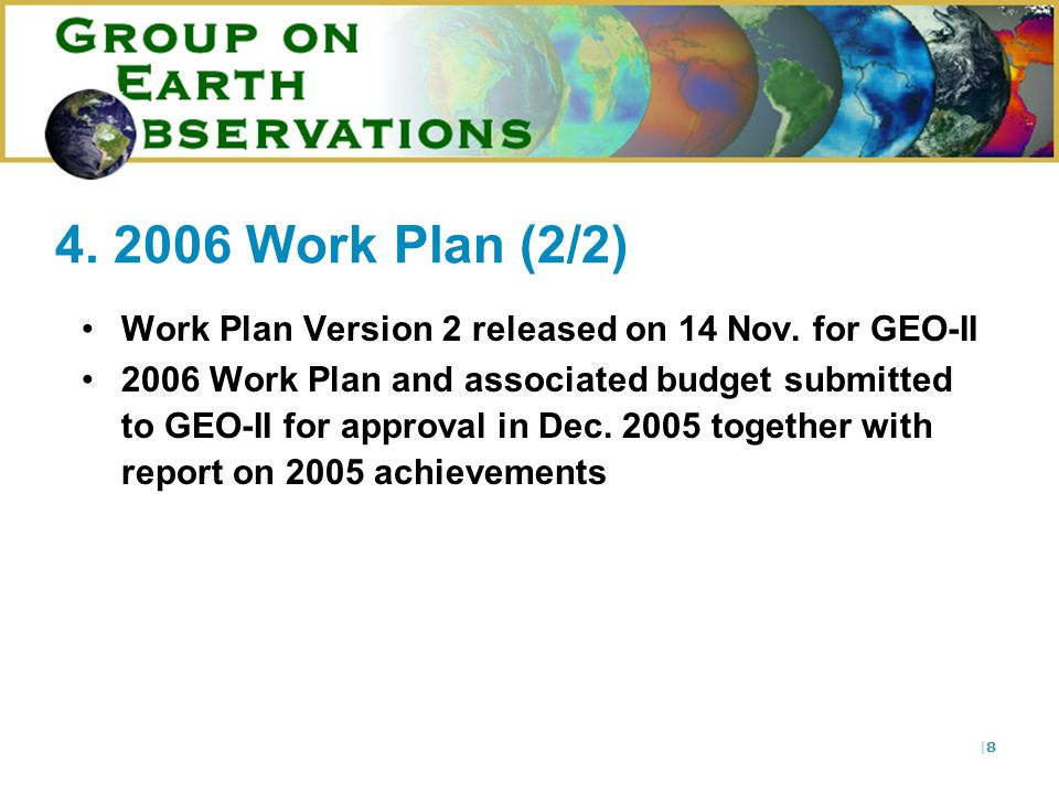 |8|8 4. 2006 Work Plan (2/2) Work Plan Version 2 released on 14 Nov.