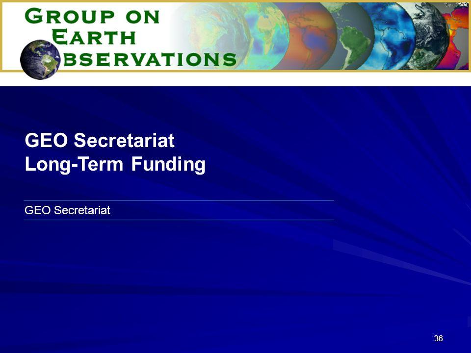 36 GEO Secretariat Long-Term Funding