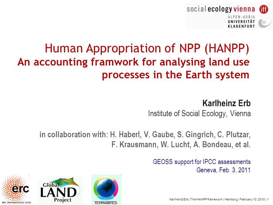 Karlheinz Erb | The HANPP framework | Hamburg | February 10, 2010 | 1 Human Appropriation of NPP (HANPP) An accounting framwork for analysing land use