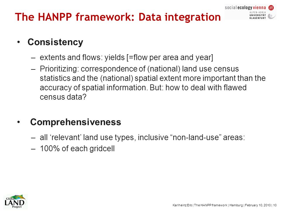 Karlheinz Erb | The HANPP framework | Hamburg | February 10, 2010 | 10 The HANPP framework: Data integration Consistency –extents and flows: yields [=