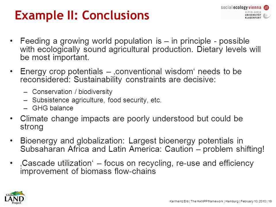 Karlheinz Erb | The HANPP framework | Hamburg | February 10, 2010 | 19 Example II: Conclusions Feeding a growing world population is – in principle -