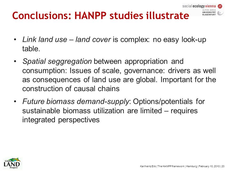 Karlheinz Erb | The HANPP framework | Hamburg | February 10, 2010 | 20 Conclusions: HANPP studies illustrate Link land use – land cover is complex: no