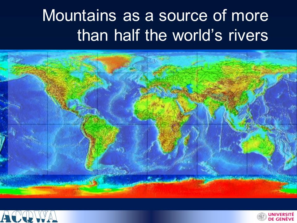 Mountains as a source of more than half the worlds rivers