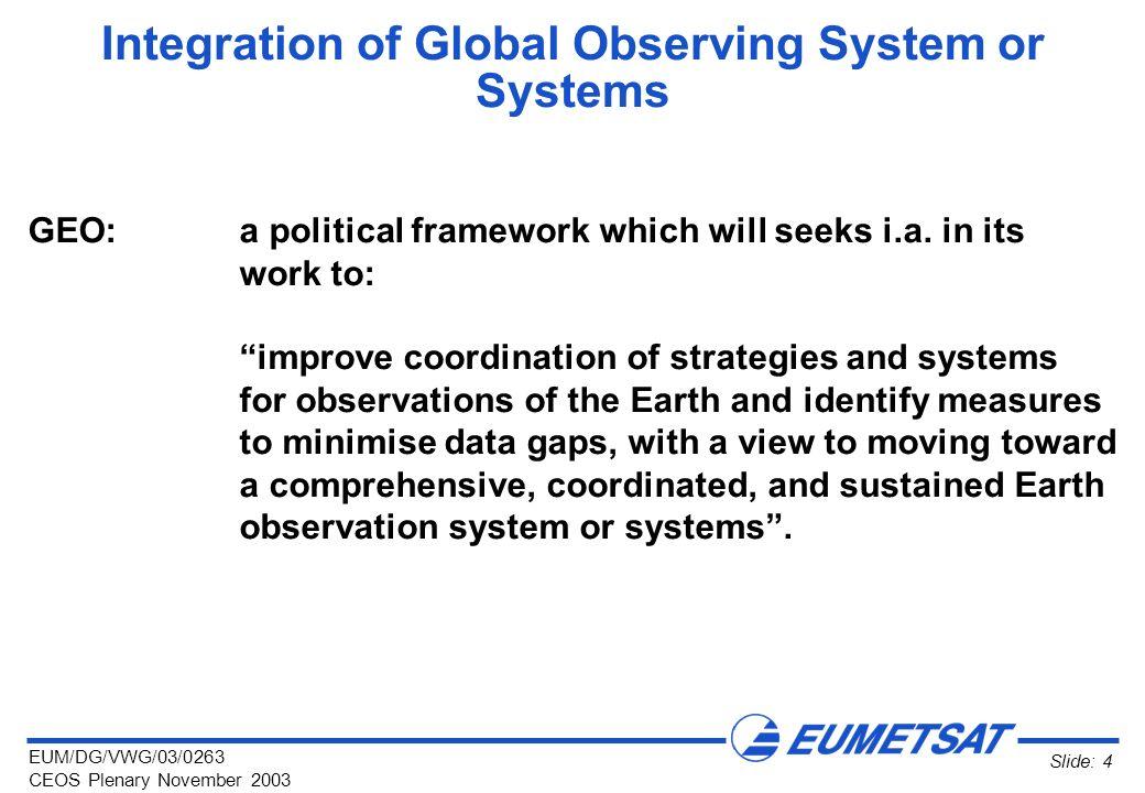 EUM/DG/VWG/03/0263 CEOS Plenary November 2003 Slide: 4 Integration of Global Observing System or Systems GEO:a political framework which will seeks i.a.