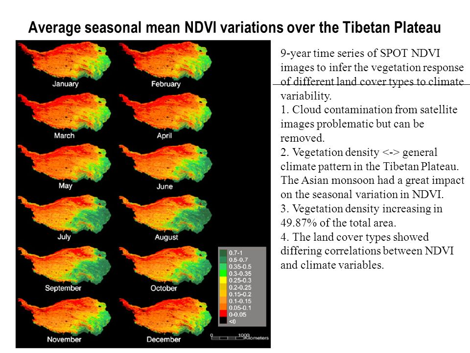 Average seasonal mean NDVI variations over the Tibetan Plateau 9-year time series of SPOT NDVI images to infer the vegetation response of different la