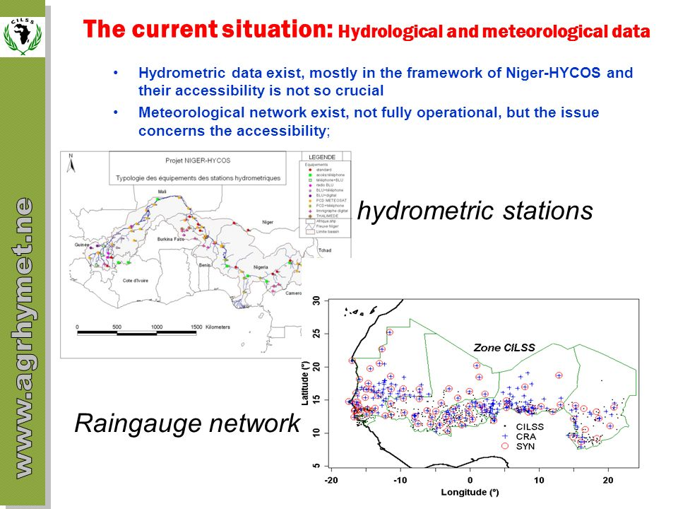 The current situation: Hydrological and meteorological data Hydrometric data exist, mostly in the framework of Niger-HYCOS and their accessibility is