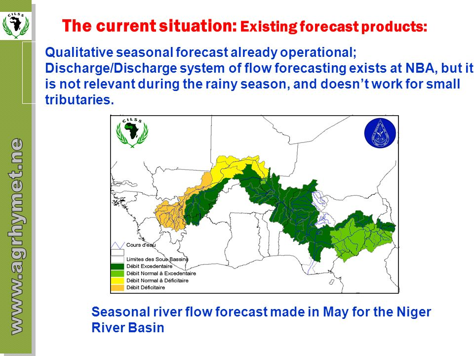 The current situation: Existing forecast products: Qualitative seasonal forecast already operational; Discharge/Discharge system of flow forecasting e