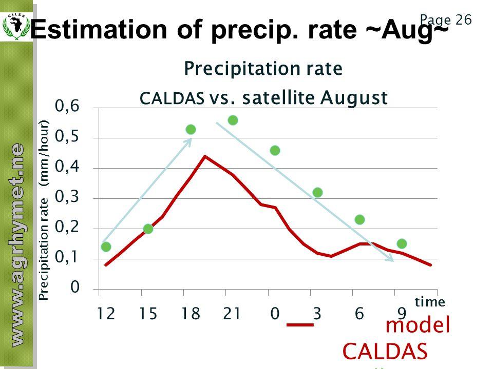 Estimation of precip. rate ~Aug~ model CALDAS satellite TRMM Page 26