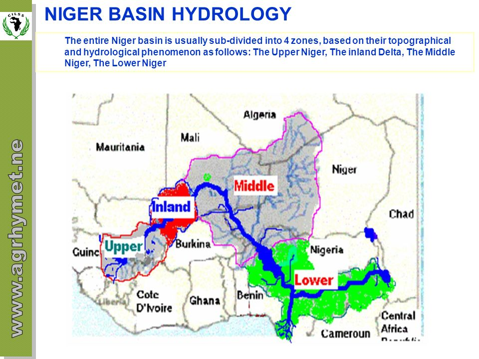 SOMME MAJOR PROBLEMS FACED IN THE NIGER BASIN Physical and Environmental problems / Political and Socio-economic Problems Physical and Environmental Problem Flow reduction as a result of the impact of climatic changes and environmental degradation Silting of the river bed of the water streams Pollution of various origins (domestic, industrial, craft industry, agricultural, mining) Floating plants (water lettuce, water hyacinth, etc…) Water and wind erosion Political and Socio-economic Problems the management of water resources in the basin is made complex because of the insufficiency and the inadequacy of cooperation mechanisms (political and institutional) ; the reluctance in some cases to put up common interest infrastructure on the national territory of a specific country (issue of national sovereignty) ; the, sometimes, divergent interests of the countries and the difficulty to reach a basin wide consensus can delay regional integration ; the difficulty in mobilizing funds for some national projects can be a factor aggravating poverty and the vulnerability of the populations ; some policies/directives of some development partners do not make it possible to obtain the support necessary for the development of resources in the basin ; the political instability in the sub-region