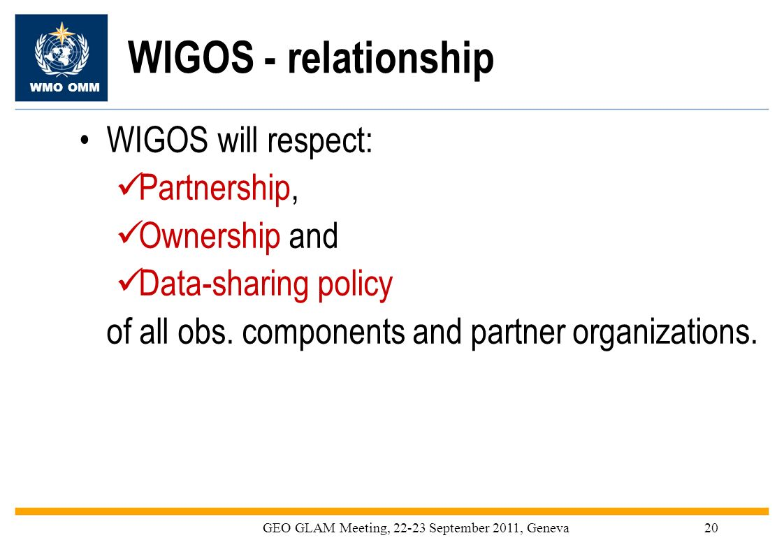 WMO OMM GEO GLAM Meeting, 22-23 September 2011, Geneva20 WIGOS - relationship WIGOS will respect: Partnership, Ownership and Data-sharing policy of al
