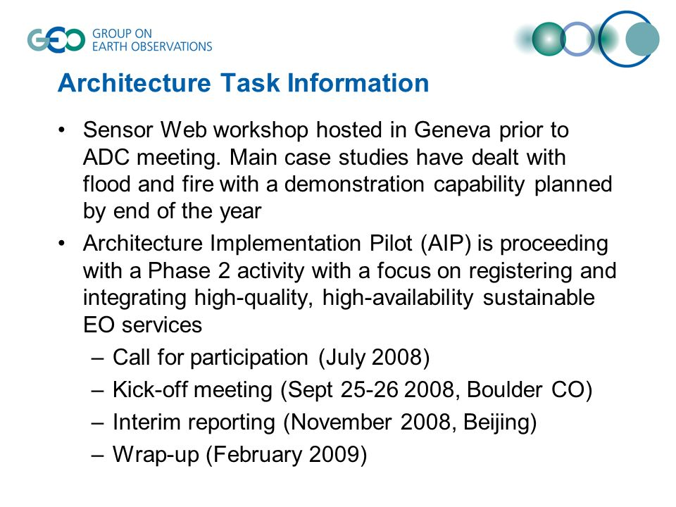 Architecture Task Information Sensor Web workshop hosted in Geneva prior to ADC meeting.