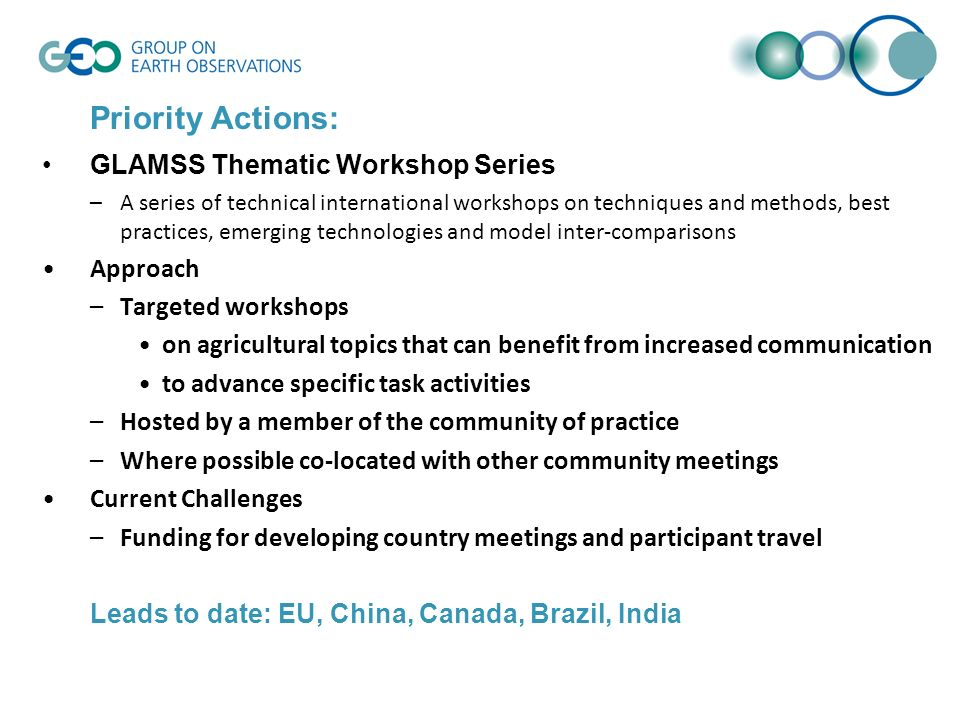 Priority Actions: GLAMSS Thematic Workshop Series –A series of technical international workshops on techniques and methods, best practices, emerging t