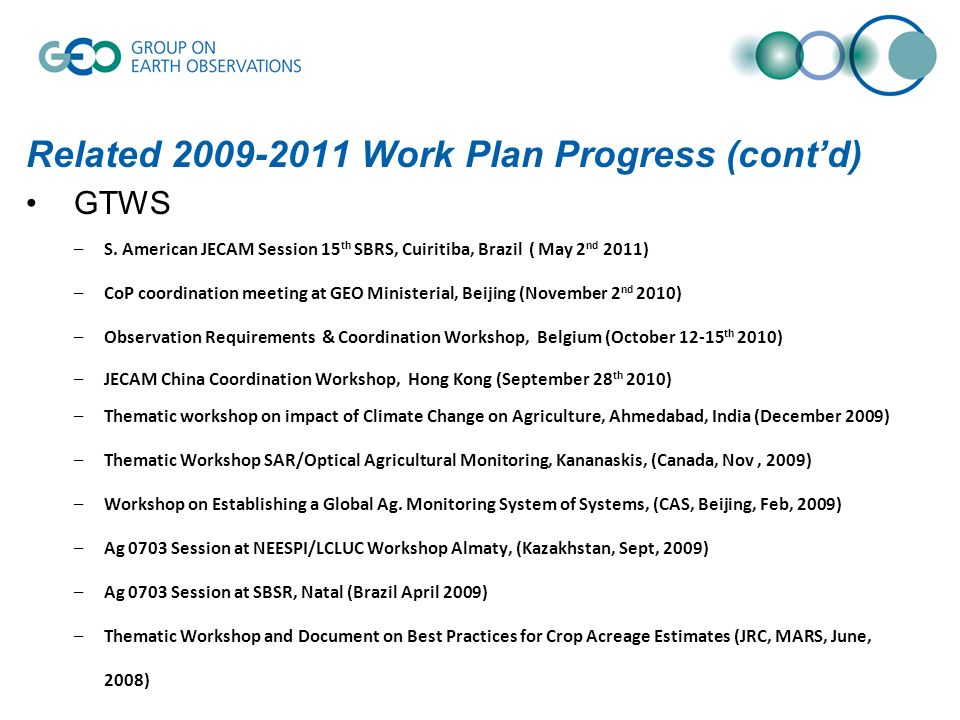 Related 2009-2011 Work Plan Progress (contd) GTWS –S.