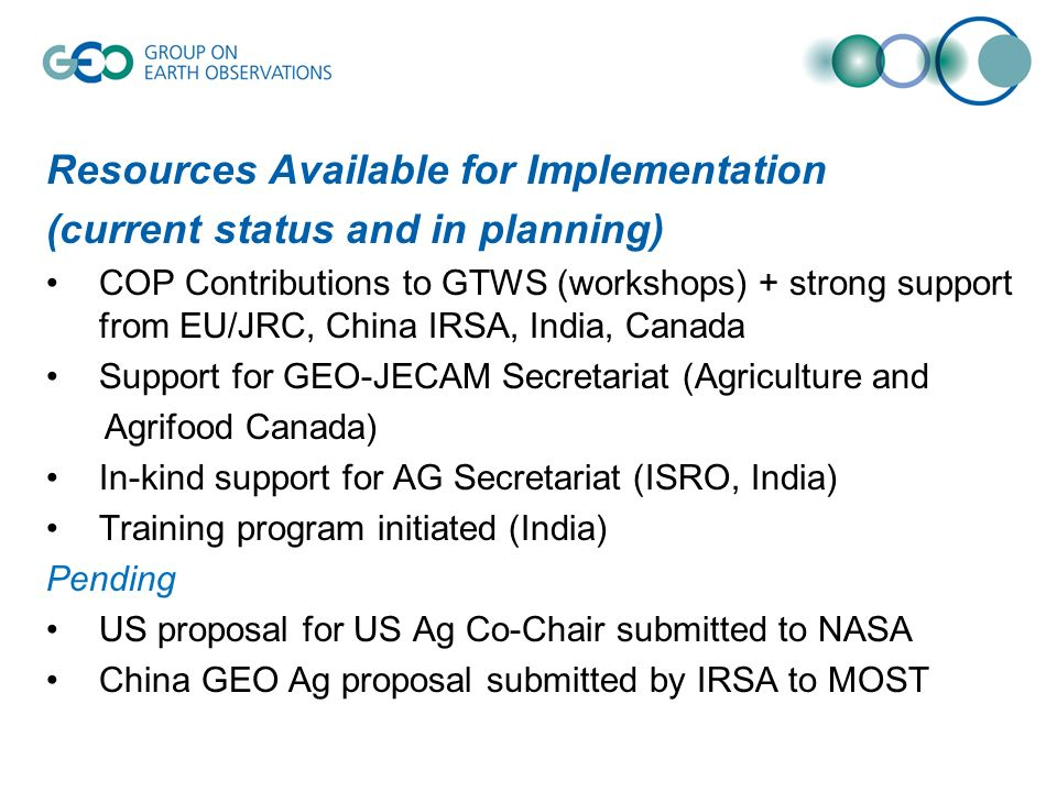 Resources Available for Implementation (current status and in planning) COP Contributions to GTWS (workshops) + strong support from EU/JRC, China IRSA