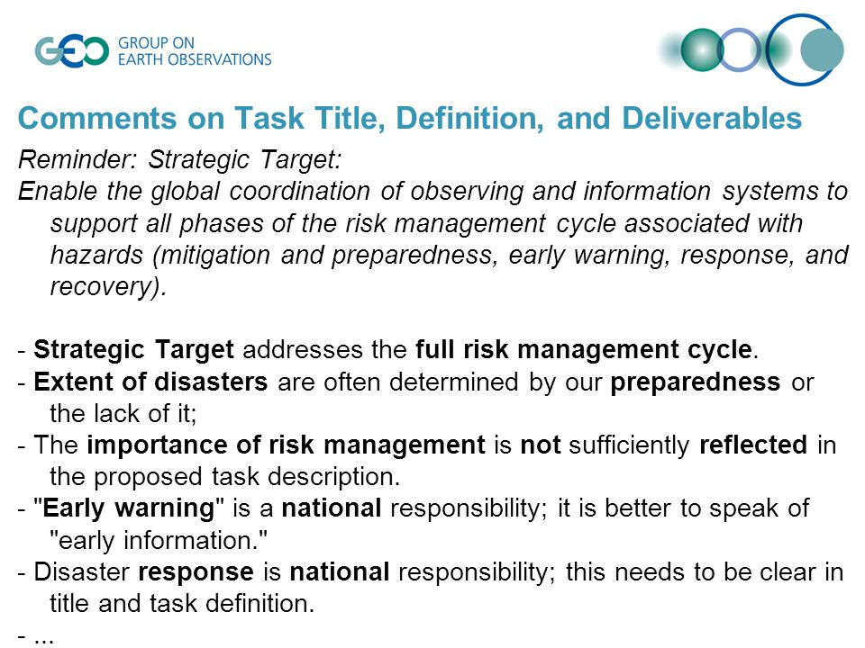 Comments on Task Title, Definition, and Deliverables Reminder: Strategic Target: Enable the global coordination of observing and information systems t
