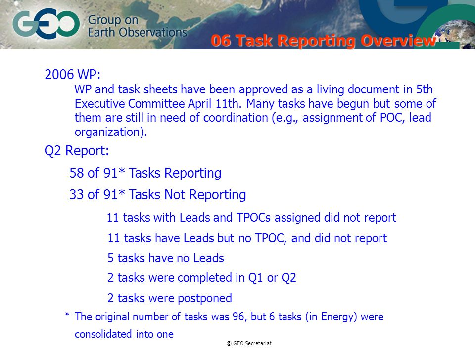© GEO Secretariat 2006 WP: WP and task sheets have been approved as a living document in 5th Executive Committee April 11th. Many tasks have begun but