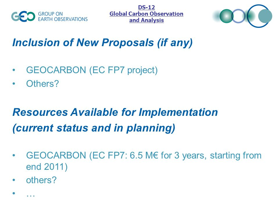 Inclusion of New Proposals (if any) GEOCARBON (EC FP7 project) Others? DS-12 Global Carbon Observation and Analysis Resources Available for Implementa