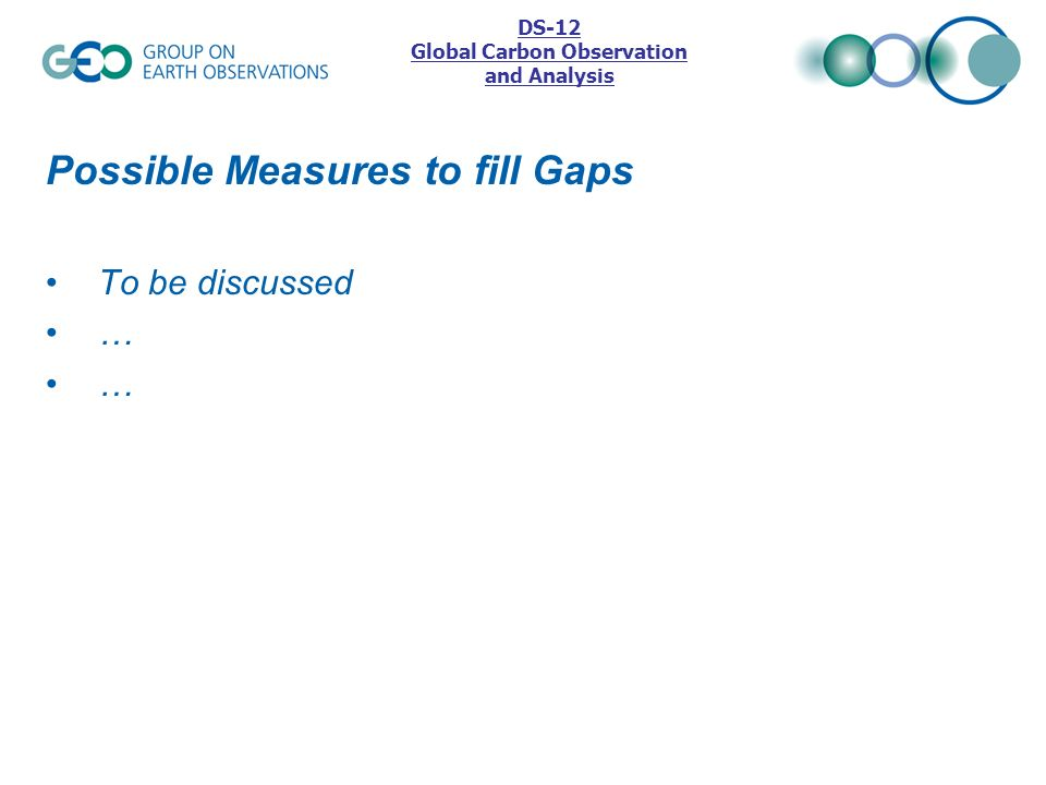 Possible Measures to fill Gaps To be discussed … DS-12 Global Carbon Observation and Analysis