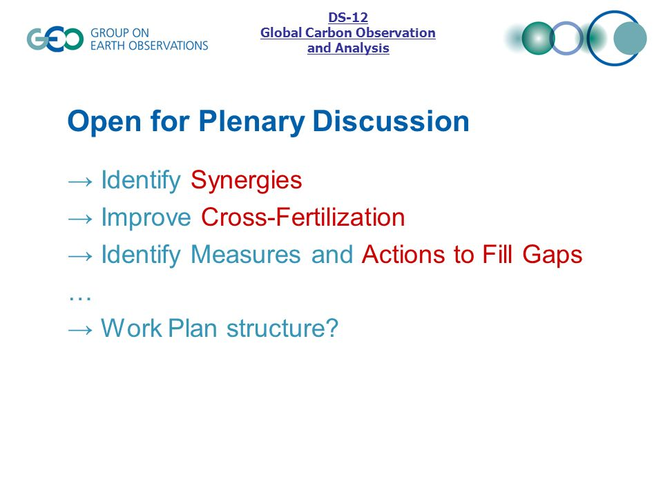 Open for Plenary Discussion Identify Synergies Improve Cross-Fertilization Identify Measures and Actions to Fill Gaps … Work Plan structure? DS-12 Glo