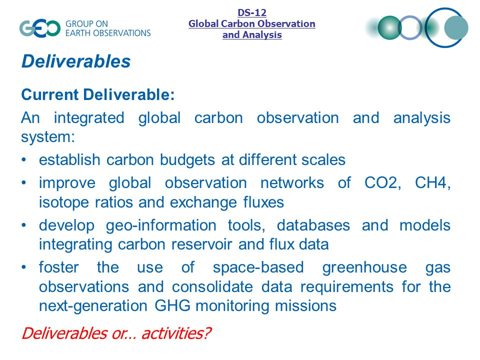 Deliverables Current Deliverable: An integrated global carbon observation and analysis system: establish carbon budgets at different scales improve gl