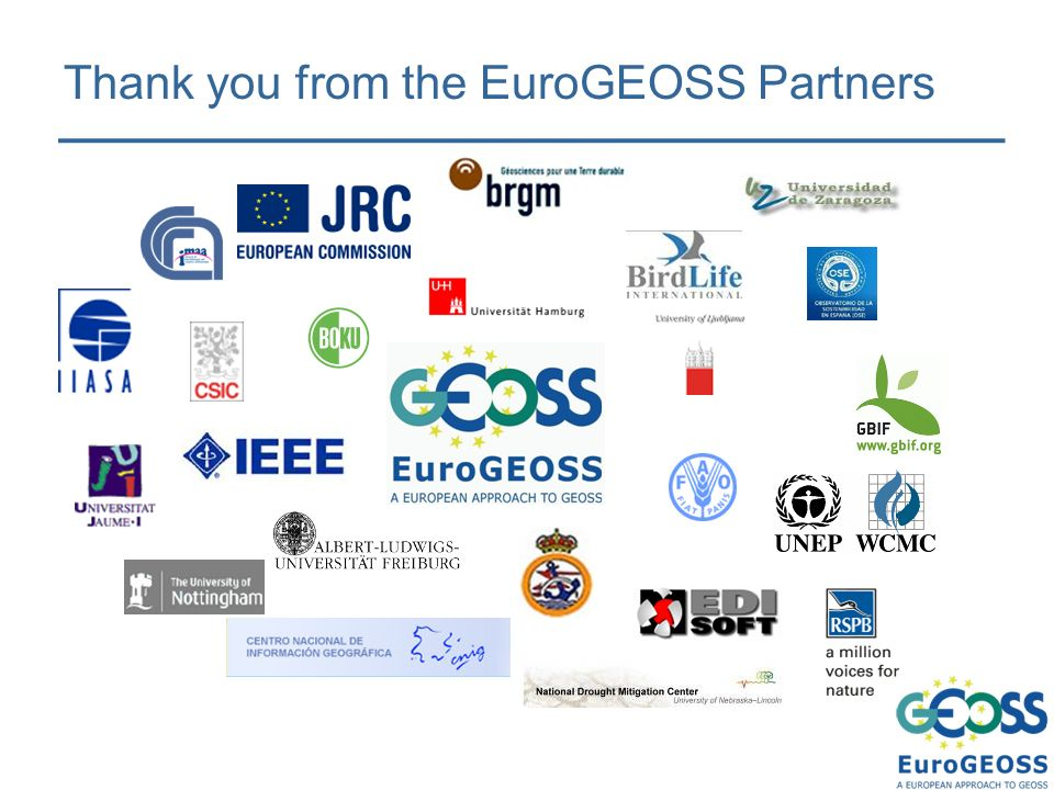 Thank you from the EuroGEOSS Partners