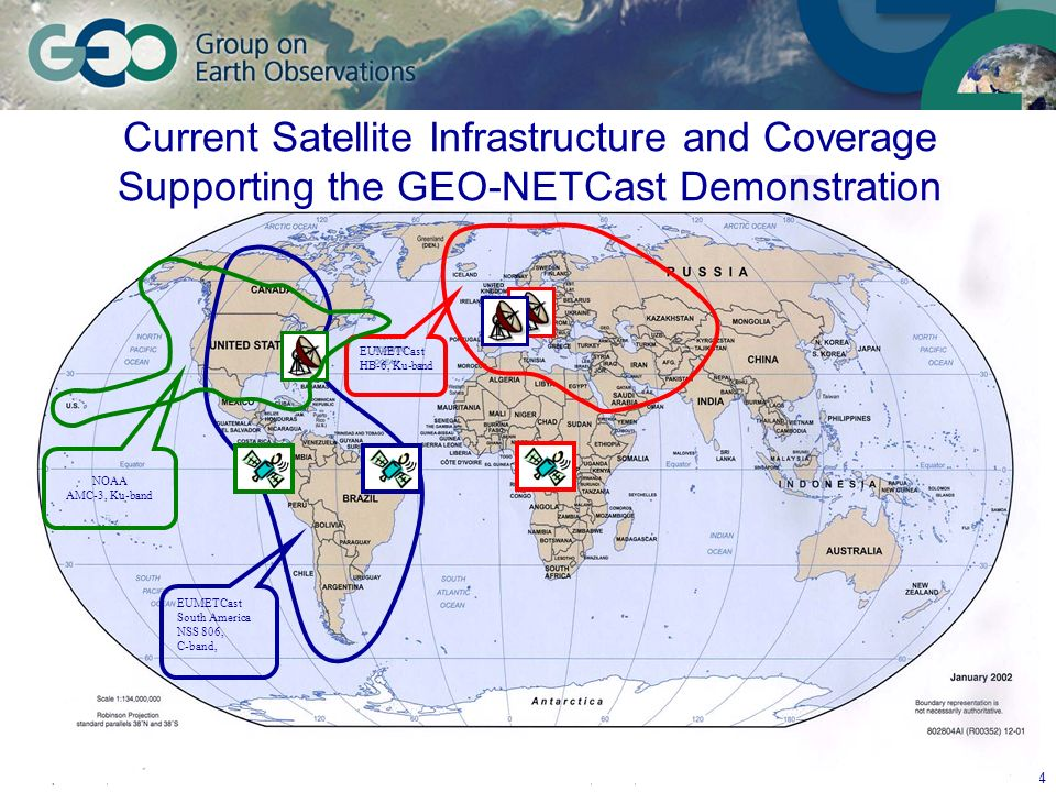 September 7, 2006GEO User Interface Committee, Ottawa, Canada 24 EUMETCast South America NSS 806, C-band, EUMETCast HB-6, Ku-band NOAA AMC-3, Ku-band Current Satellite Infrastructure and Coverage Supporting the GEO-NETCast Demonstration