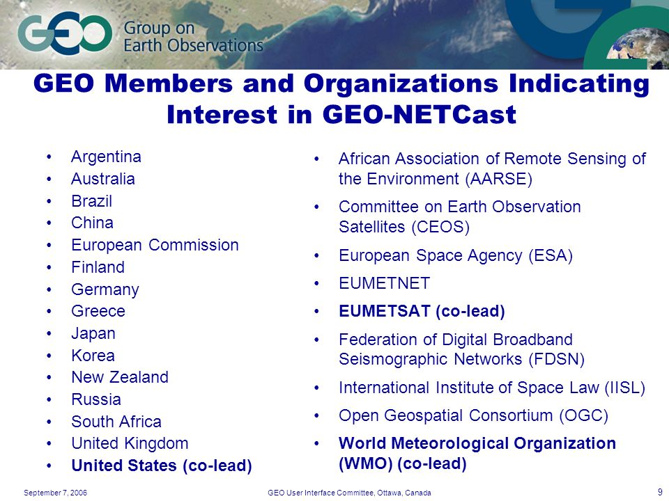 September 7, 2006GEO User Interface Committee, Ottawa, Canada 9 GEO Members and Organizations Indicating Interest in GEO-NETCast Argentina Australia B