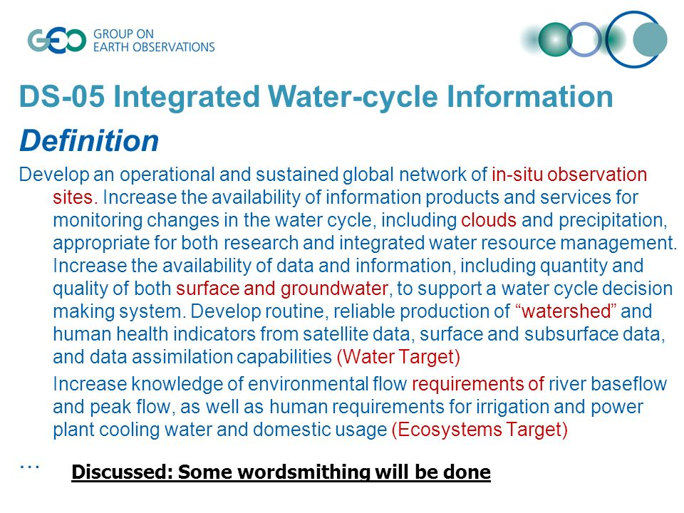 DS-05 Integrated Water-cycle Information Definition Develop an operational and sustained global network of in-situ observation sites. Increase the ava