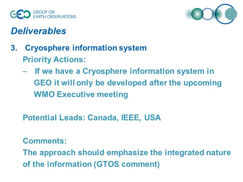 Deliverables 3. Cryosphere information system Priority Actions: –If we have a Cryosphere information system in GEO it will only be developed after the