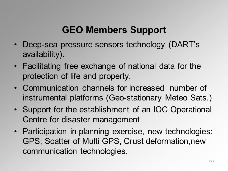 |22 GEO Members Support Deep-sea pressure sensors technology (DARTs availability). Facilitating free exchange of national data for the protection of l