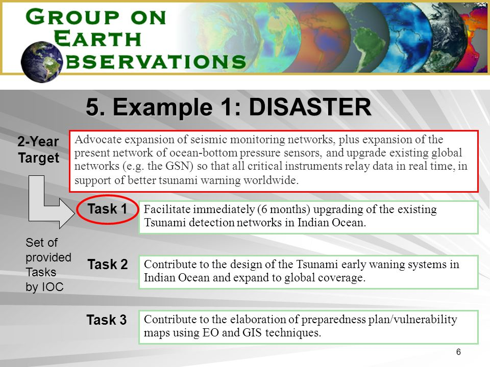 6 5. Example 1: DISASTER Advocate expansion of seismic monitoring networks, plus expansion of the present network of ocean-bottom pressure sensors, an