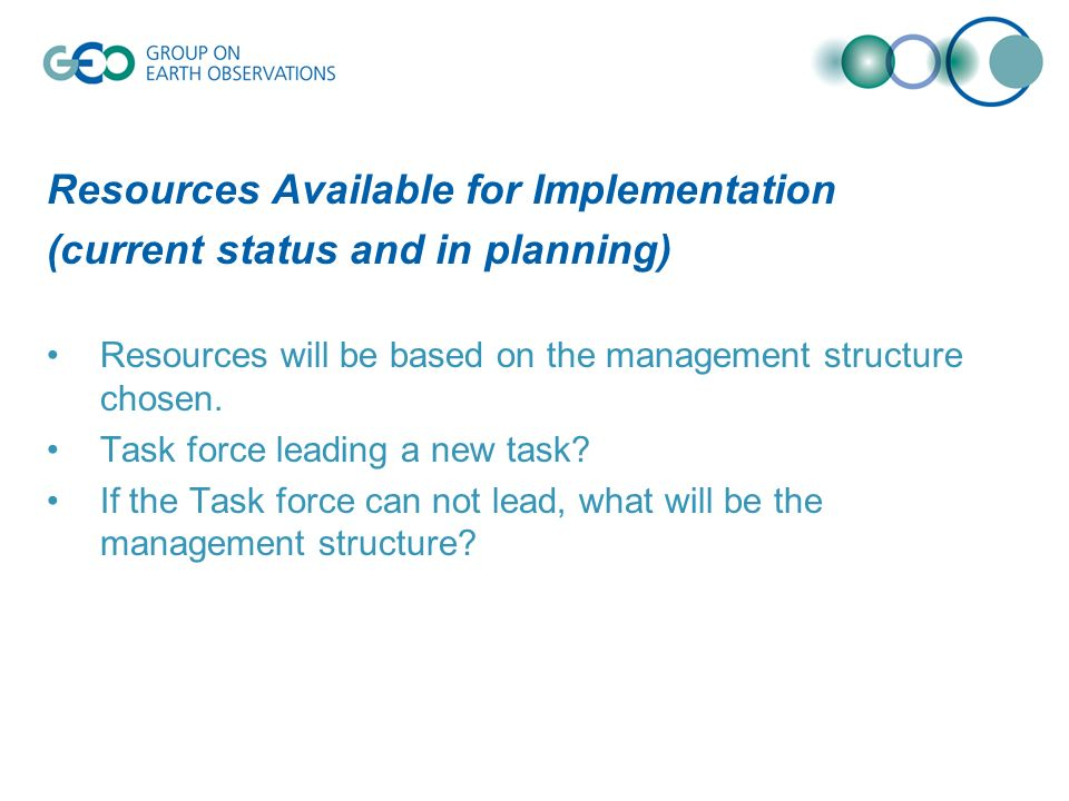 Resources Available for Implementation (current status and in planning) Resources will be based on the management structure chosen.