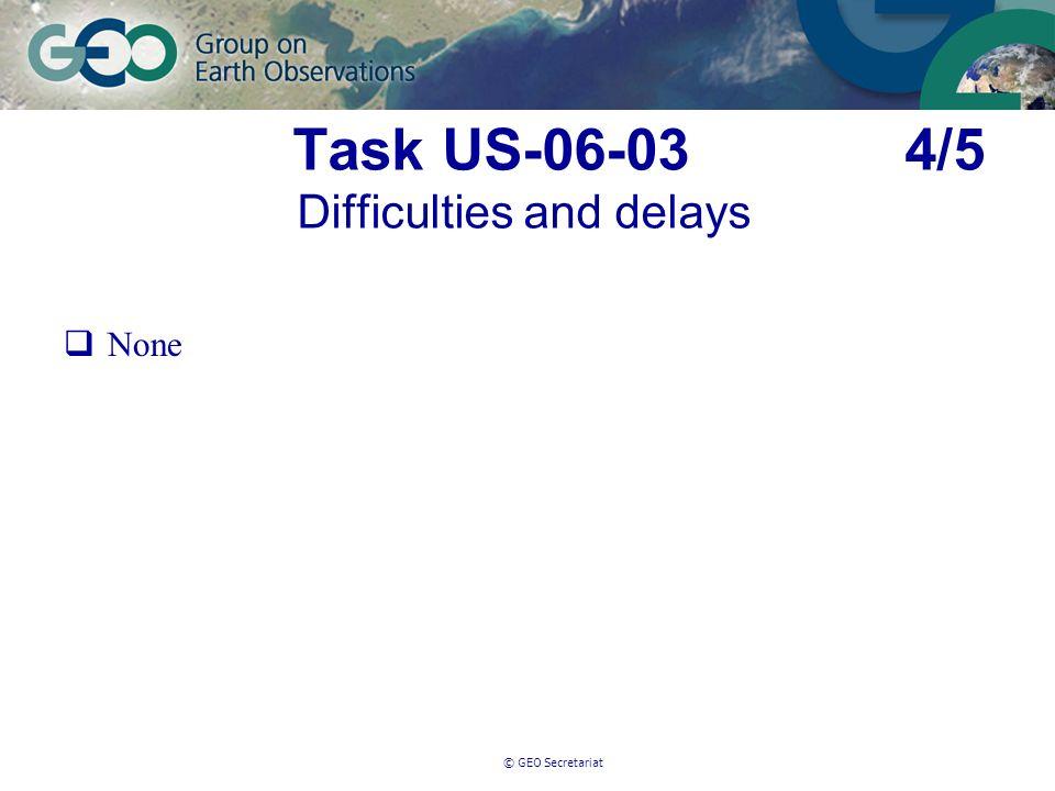© GEO Secretariat Task US-06-03 4/5 Difficulties and delays None