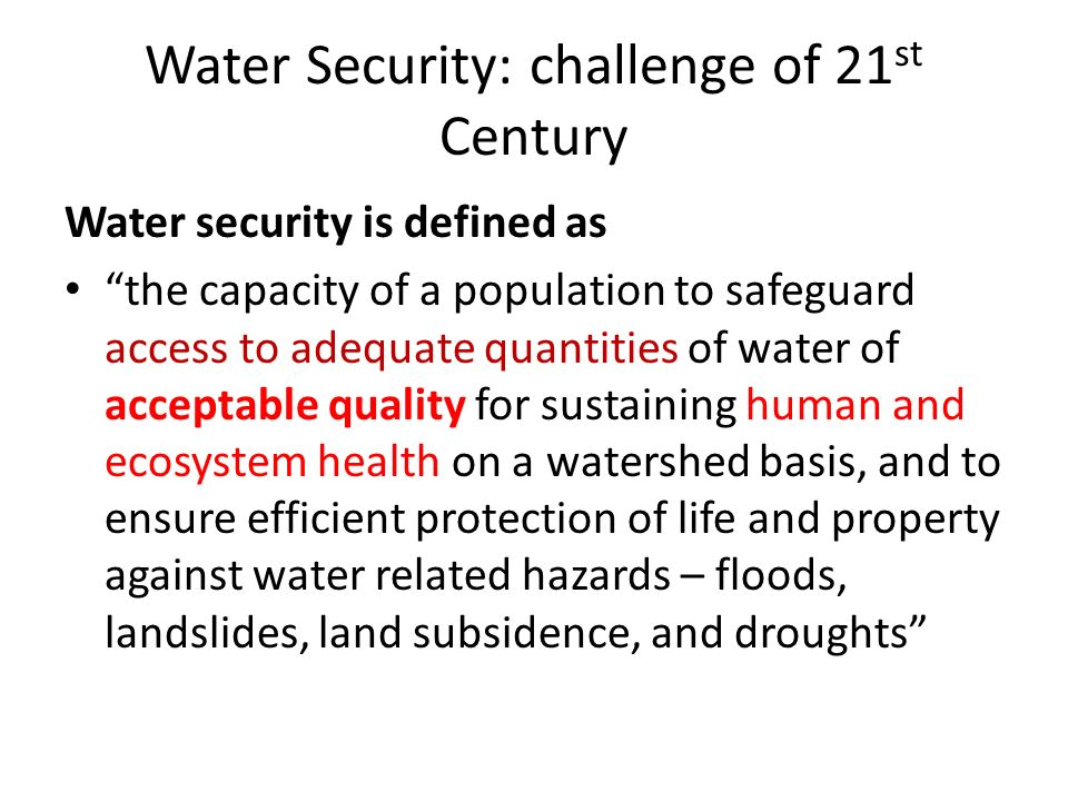 UNESCOs water strategic plan: IHP Phase 8, Water Security