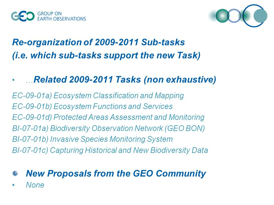 Re-organization of 2009-2011 Sub-tasks (i.e. which sub-tasks support the new Task) … Related 2009-2011 Tasks (non exhaustive) EC-09-01a) Ecosystem Cla