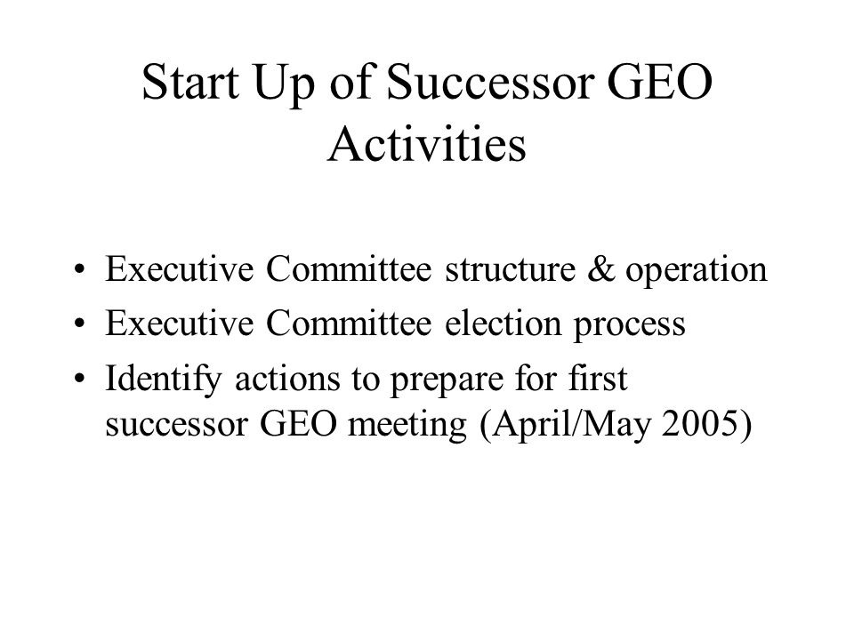 Start Up of Successor GEO Activities Executive Committee structure & operation Executive Committee election process Identify actions to prepare for first successor GEO meeting (April/May 2005)