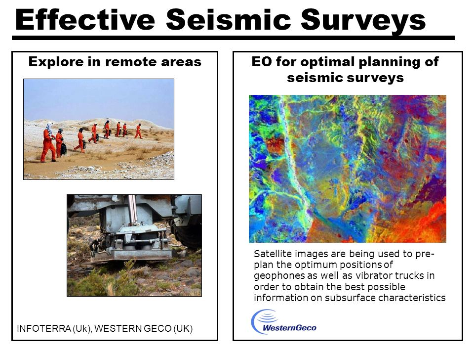 Effective Seismic Surveys EO for optimal planning of seismic surveys Explore in remote areas INFOTERRA (Uk), WESTERN GECO (UK) Satellite images are being used to pre- plan the optimum positions of geophones as well as vibrator trucks in order to obtain the best possible information on subsurface characteristics