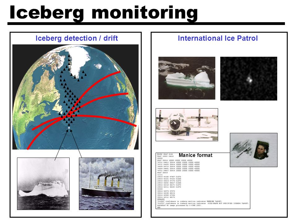 Iceberg monitoring Manice format Iceberg detection / driftInternational Ice Patrol