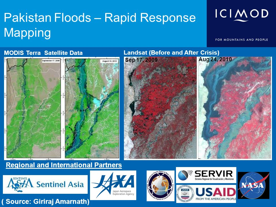 Pakistan Floods – Rapid Response Mapping MODIS Terra Satellite Data Landsat (Before and After Crisis) Aug 24, 2010 Sep 17, 2009 Regional and International Partners ( Source: Giriraj Amarnath)