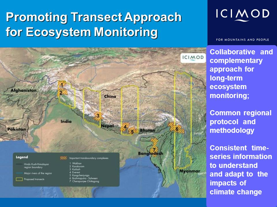 Promoting Transect Approach for Ecosystem Monitoring Collaborative and complementary approach for long-term ecosystem monitoring; Common regional protocol and methodology Consistent time- series information to understand and adapt to the impacts of climate change