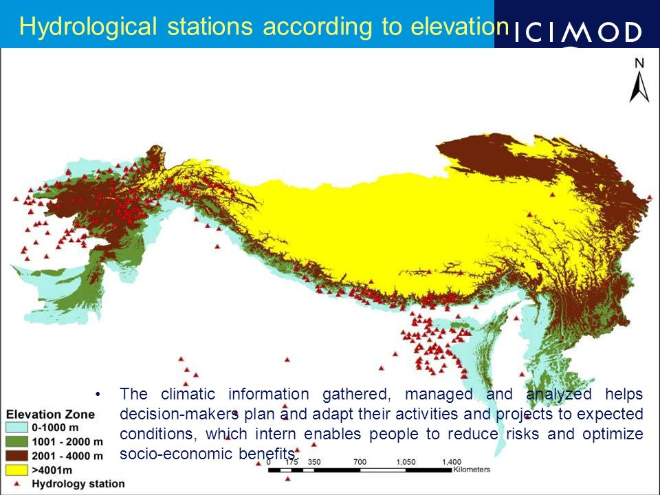 Hydrological stations according to elevation The climatic information gathered, managed and analyzed helps decision-makers plan and adapt their activities and projects to expected conditions, which intern enables people to reduce risks and optimize socio-economic benefits.