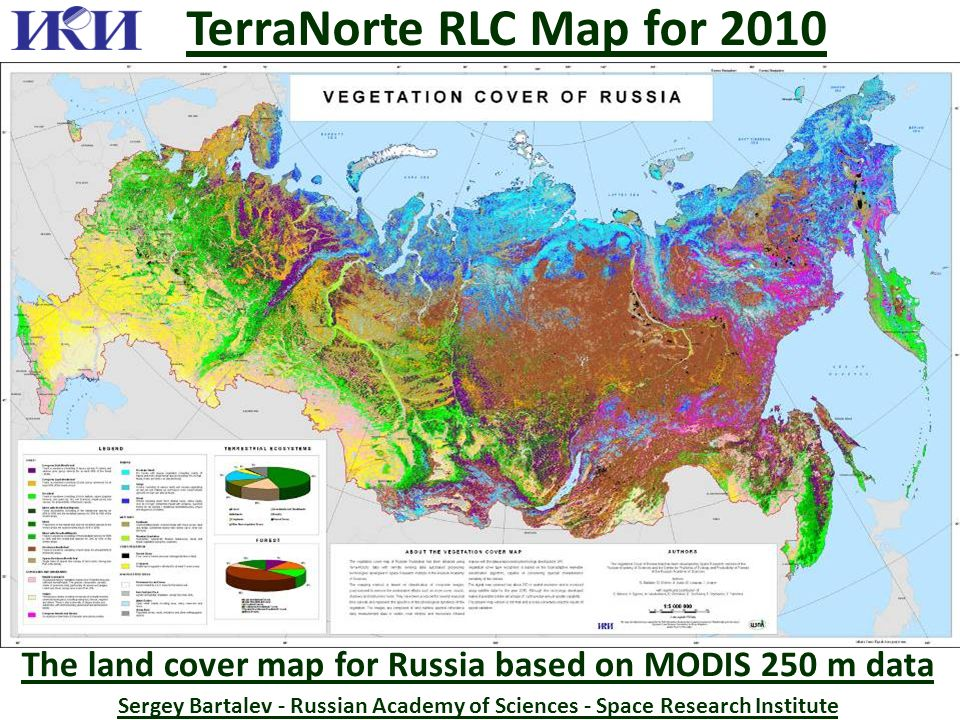 The land cover map for Russia based on MODIS 250 m data Sergey Bartalev - Russian Academy of Sciences - Space Research Institute TerraNorte RLC Map for 2010