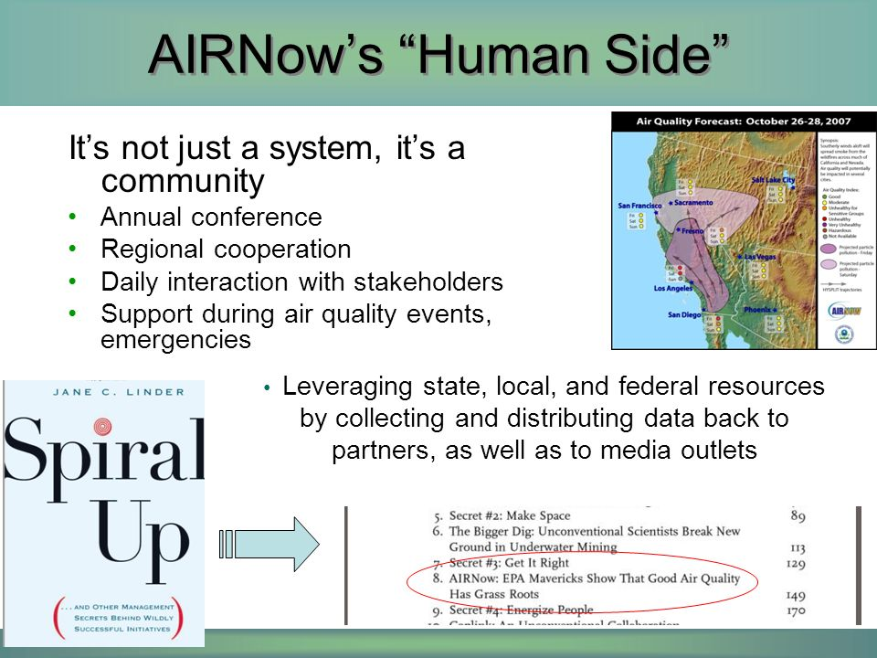 From AIRNow to GEOSS The AIRNow experience has taught us several lessons –Community is KEY – 40% technology, 60% people –The public wants environmental information, but depends upon the community to interpret it –The community provides the context that lies between the data and the public, e.g.