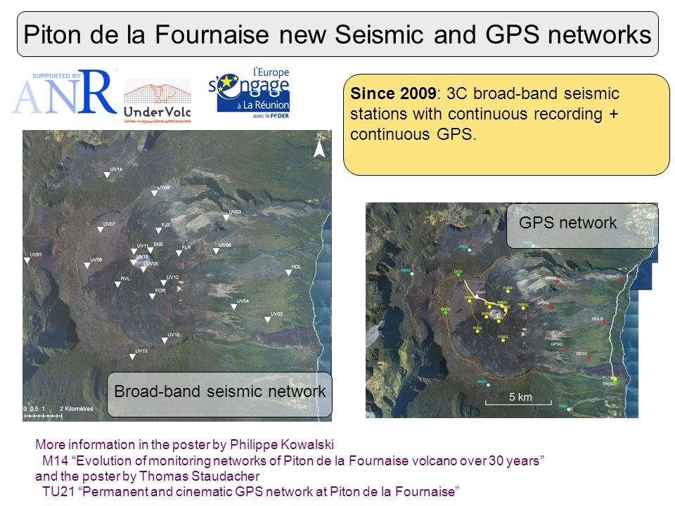 Piton de la Fournaise new Seismic and GPS networks Since 2009: 3C broad-band seismic stations with continuous recording + continuous GPS.
