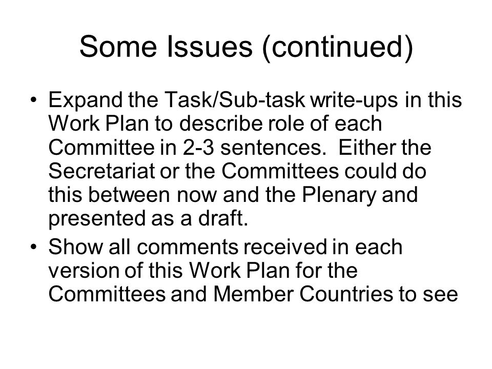 Some Issues (continued) Expand the Task/Sub-task write-ups in this Work Plan to describe role of each Committee in 2-3 sentences. Either the Secretari