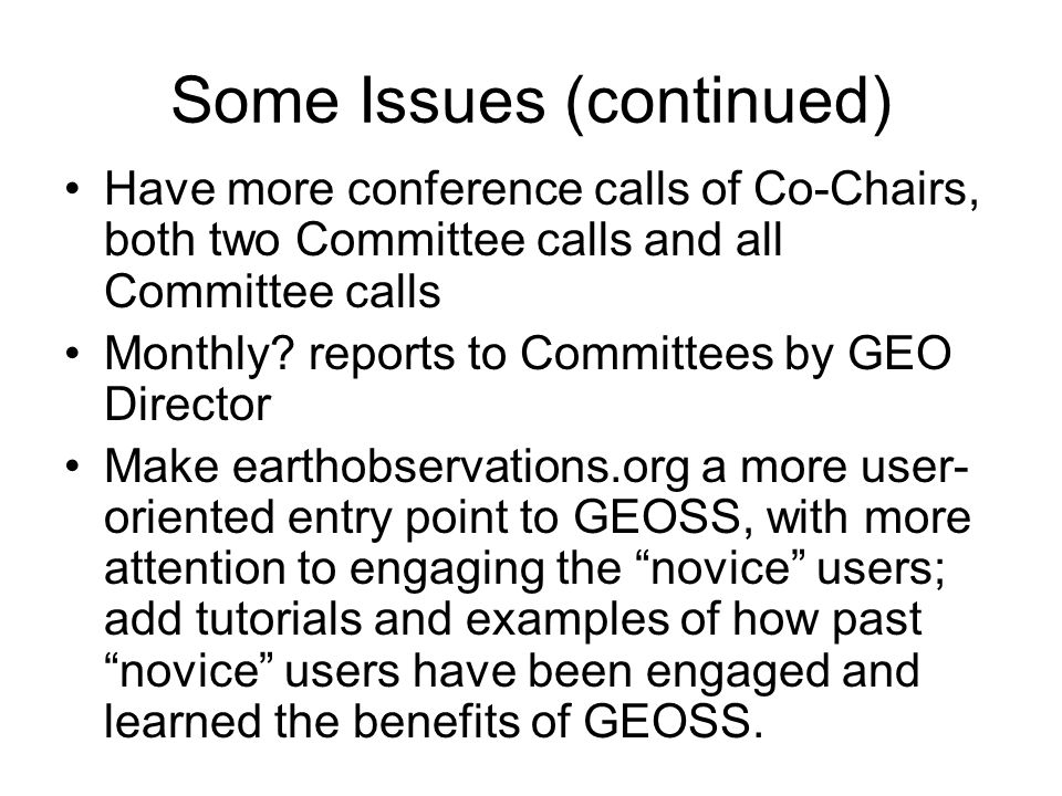 Some Issues (continued) Have more conference calls of Co-Chairs, both two Committee calls and all Committee calls Monthly? reports to Committees by GE