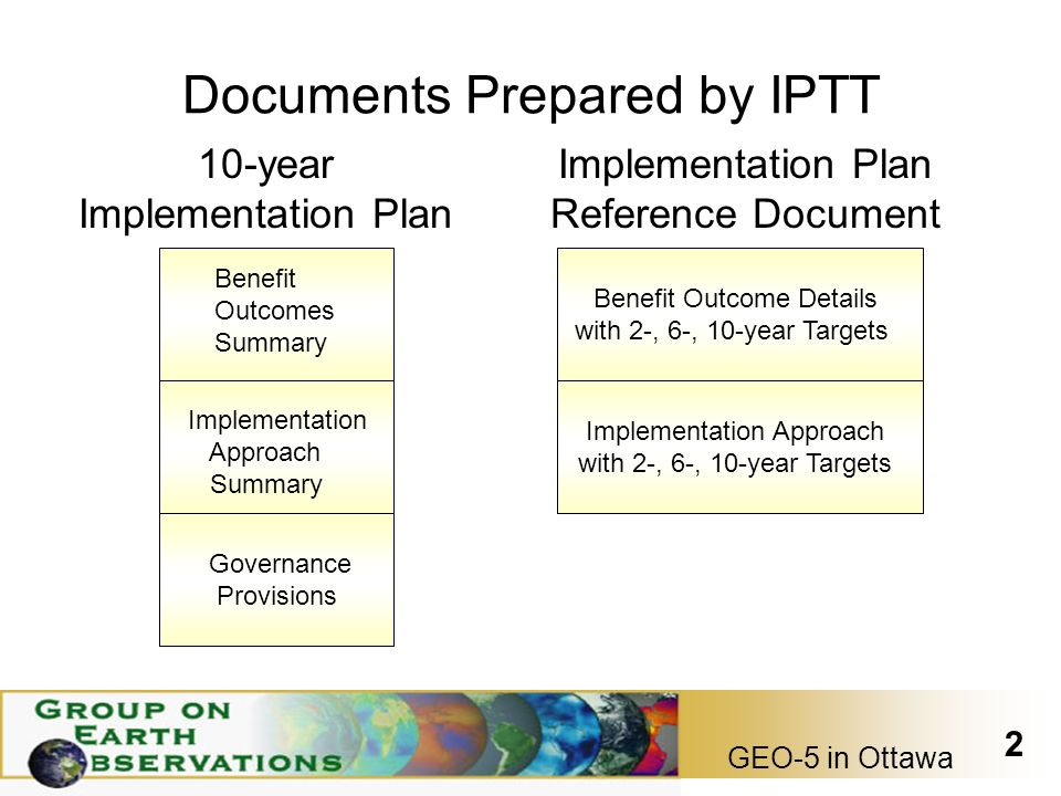 GEO-5 in Ottawa 2 Documents Prepared by IPTT 10-year Implementation Plan Governance Provisions Implementation Plan Reference Document Benefit Outcome Details with 2-, 6-, 10-year Targets Implementation Approach with 2-, 6-, 10-year Targets Benefit Outcomes Summary Implementation Approach Summary