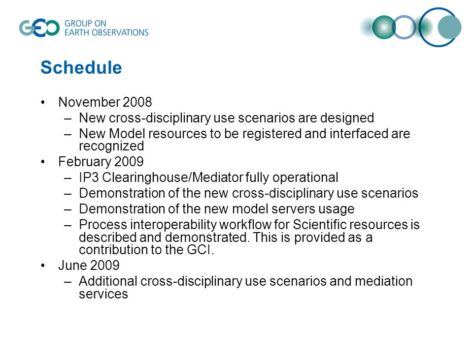 Schedule November 2008 –New cross-disciplinary use scenarios are designed –New Model resources to be registered and interfaced are recognized February