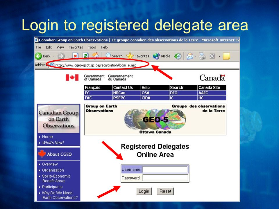 Login to registered delegate area